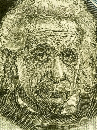 A stylish close-up drawing(?) of legendary physicist Albert Einstein