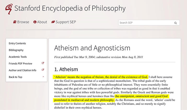 A screenshot of the Stanford Encyclopedia of Philosophy showing their authoritative definition of atheism.